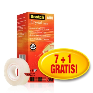 Scotch Crystal 600 ruban adhésif transparent 19mmx33m - value pack 7+1gratuit
