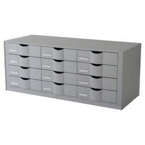 Paperflow Easy Office module de rangement 12 tiroirs 81,3x32,9x34,2cm gris