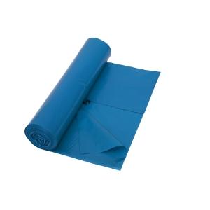 Sac poubelle 53 microns LDPE 65+50x140cm bleu - rouleau de 10