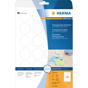 Herma 4686 étiquettes transparentes arrondis 40mm - boite de 25