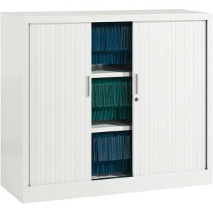 Armoire à rideaux Ariv avec 2 tablettes 120 x 105 x 43 cm - blanc