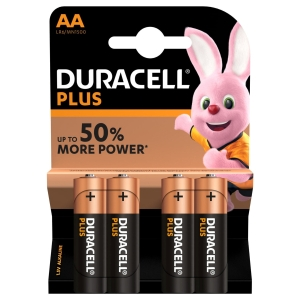 Duracell Plus Power Piles alcalines type AA, paquet de 4