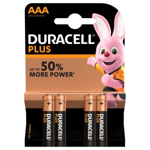 Duracell Plus Power Piles Alcalines type AAA, Lot de 4