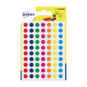 Avery PSA08MX étiquettes de bureau couleurs 8mm assorti - paquet de 420