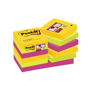 Post-it Notes Super Sticky 47,6x47,6 mm couleurs Rio - paquet de 12