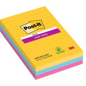 Post-it Notes Super Sticky ligné 102x152 mm couleurs Rio - paquet de 3