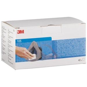 3M 105 lingettes nettoyantes individuelle pour masques - boîte de 40 paires