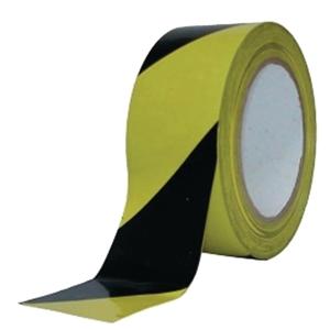 Ruban de barrière 8cmx500m noir/jaune avec distributeur - par boîte