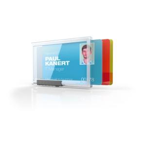 Durable 8920 pushbox trio porte-badge pour cartes de service - paquet de 10