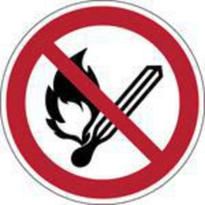 Brady pictogramme PP P003 Feu, flammes et fumer interdits 100mm