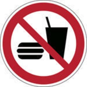 Brady pictogramme autocollant P022 Interdiction de manger ou de boire 200mm