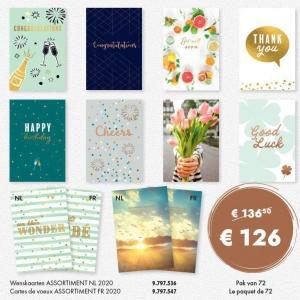 Carte voeux assortiment Français 2019 - paquet de 72