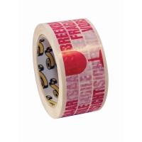 Verpakkingstape fragile 50mmx66m PVC rood