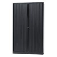 Hoge roldeurkast met 4 legborden 120 x 198 x 43 cm zwart