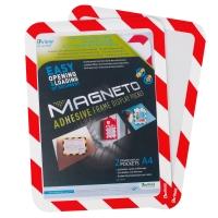Magnetische zelfklevende kader A4 rood/wit - pak van 2