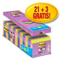 Post-it Value Pack Super Sticky notes 76x76mm heldere kleuren  - pak van 24