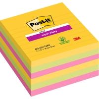 Post-it Super Sticky Notes gelijnd 101x101 mm Rio kleuren - pak van 6