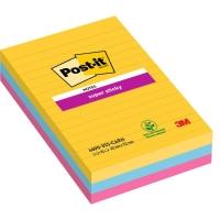 Post-it Super Sticky Notes gelijnd 102x152 mm Rio kleuren - pak van 3