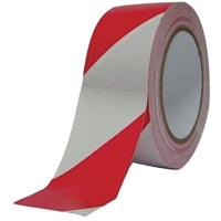 Afzetlint geblokt 8cmx500m rood/wit in afrolkarton - per doos