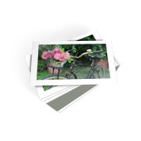 Wenskaarten met prent bloemen in fietsmand - pak van 6