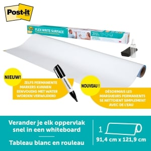 Post-it® Super Sticky Dry Erase Whiteboardfolie DEF4X3, 91,4 cm x 1,219 m, 1 rol
