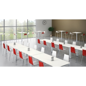 Spoon breakroom chair white/red - pack of 2