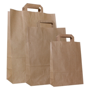 Paper bag 100g recycled kraft - 220 x 100 x 310mm - Brown - Pack of 250 pieces