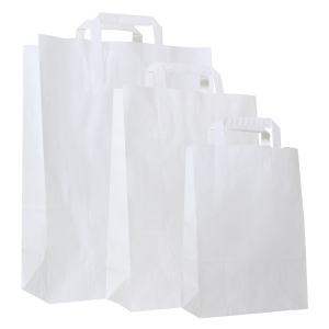 Paper bag 80g kraft - 220 x 100 x 310mm - white - Pack of 250 pieces