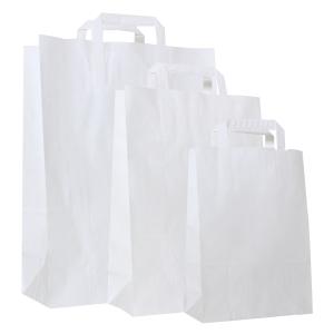Papieren zak 80g kraft - 220x100x310mm - wit - Pak van 250 stuks