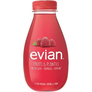 Evian water framboos & verbena 37cl - pak van 12 flessen
