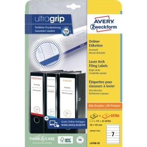 Avery spine labels L4760-25 192x38 mm white - box of 175
