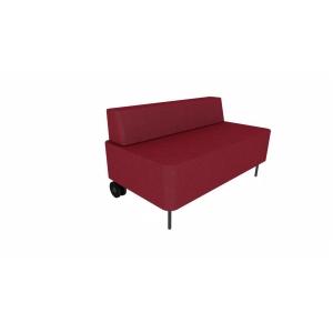 Eol Zélie tweezit zetel met rug, B 120 x H 43 x D 67 cm, stof, bordeaux