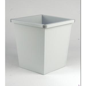 Afvalbak uit metaal vierkante vorm 27l grijs