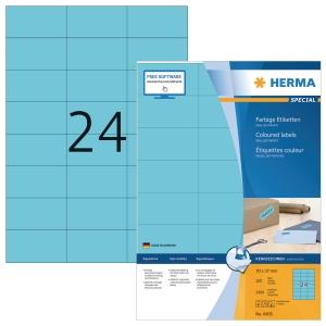 HERMA 4408 gekleurde etiketten A4 70x37mm blauw - doos van 2400