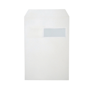 Bags 229x324mm peel and seal window right 120g white - box of 250