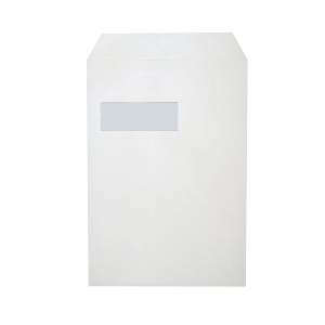 Bags 229x324mm peel and seal window left 120g white - box of 250