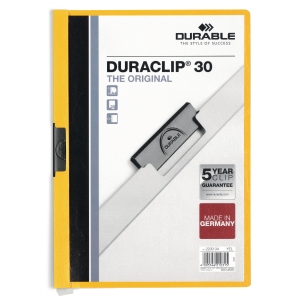 Durable 2200 Duraclip klemmap A4 PVC 30 vel geel