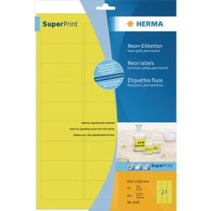 Herma 5140 fluorescerende etiketten 63,5x29,6mm geel - doos van 540