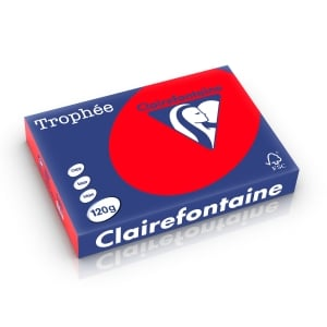 Clairefontaine Trophée 1227 coloured paper A4 120g coral red - pack 250 sheets