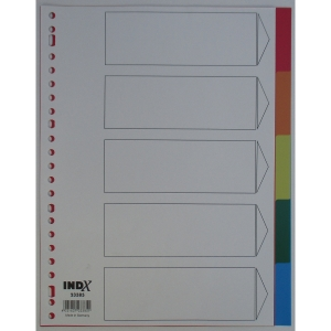 IndX neutrale tabbladen A4, PP, 23-gaats, per 5 tabs
