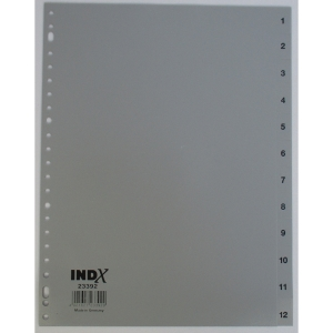 IndX numerieke tabbladen, A4, PP, grijs, 23-gaats, per 12 tabs
