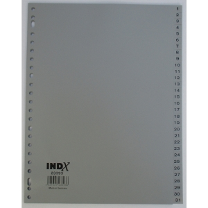 IndX numerieke tabbladen, A4, PP, grijs, 23-gaats, per 31 tabs