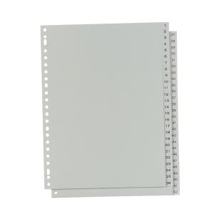 IndX numerieke tabbladen, A4, PP, grijs, 23-gaats, per 52 tabs