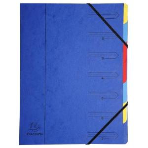 Sorteermap 7 vakken karton 430g blauw