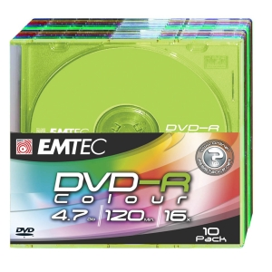 Emtec DVD-R 4,7GB 16X slim color - pak van 10
