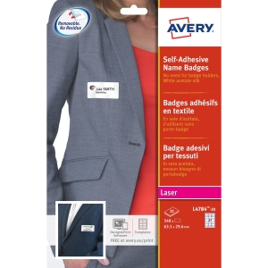 Avery L4784-20 selfadhesive badges 63,5 x 29,6 mm - box of 540