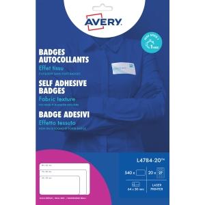 Avery L4784-20 zeflklevende naambadges 63,5 x 29,6 mm - doos van 540