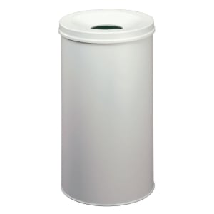 Durable waste bin metal with extinguisher 50 litres light grey