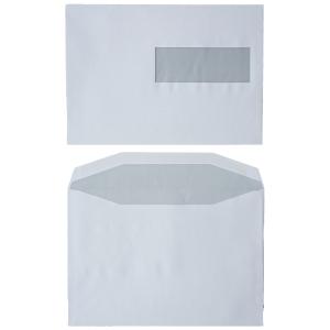 Standaard enveloppen 162x229mm gomsluiting venster rechts 80g - doos van 500