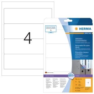 Herma 10165 herkleefbare etiketten voor ordners 192x61mm - doos van 100